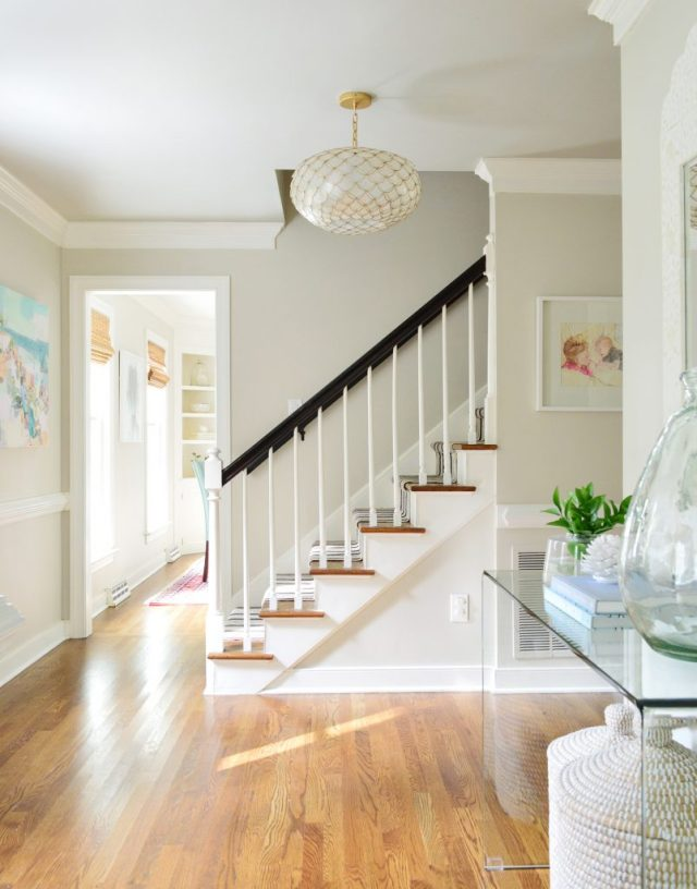Foyer with Edgecomb Gray paint with yard clippings to add greenery to entry table