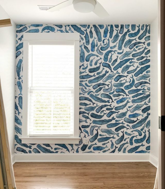 Small Room With Blue Whale Removable Wallpaper