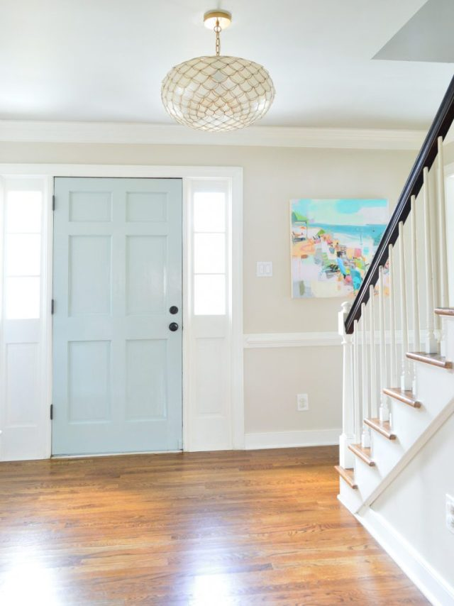 Tranquility Benjamin Moore Glossy Paint On Front Door In Foyer