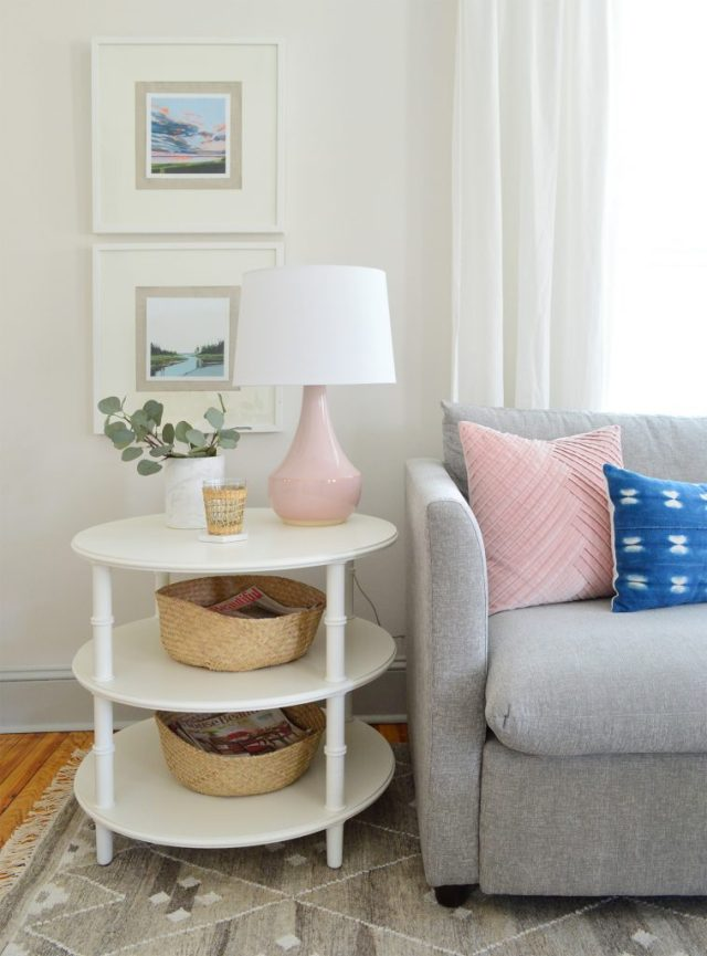 Faux Ikea greenery on table top in beach house living room