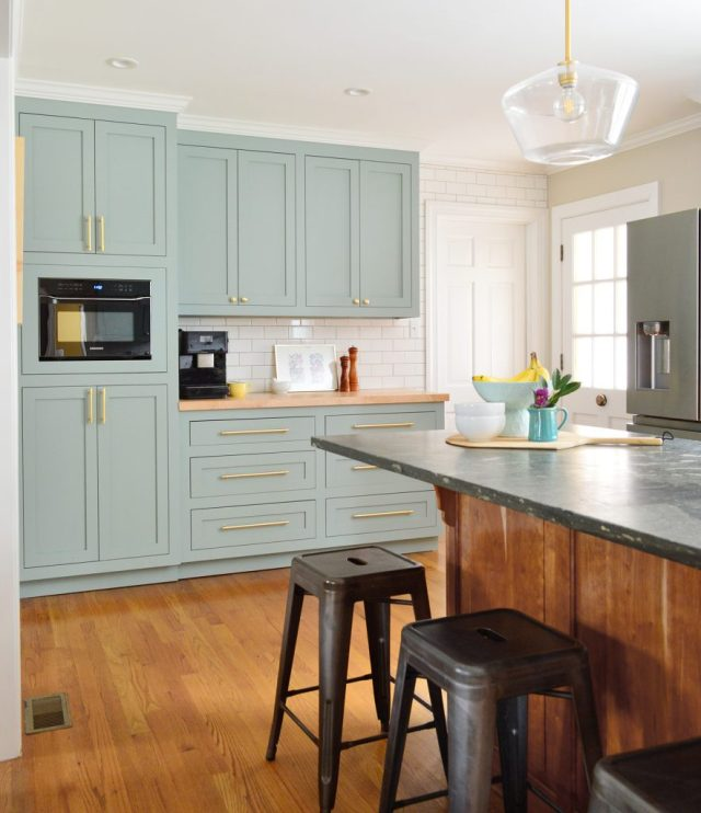 After Photo Of Laundry Area Turned Pantry Cabinets In Halcyon Green Blue Kitchen With Wood Island