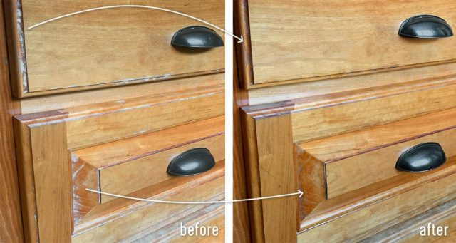 Side By Side Of Wood Cabinet Before And After Stain Pen Refresh