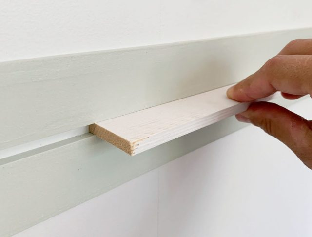 Scrap Of White Wood Lattice Used As Spacer Between Two Painted Lattice Strips