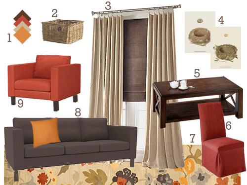 Warm And Cozy Dining Room Moodboard: This Living & Dining Room Also Opened Up To An Office, So