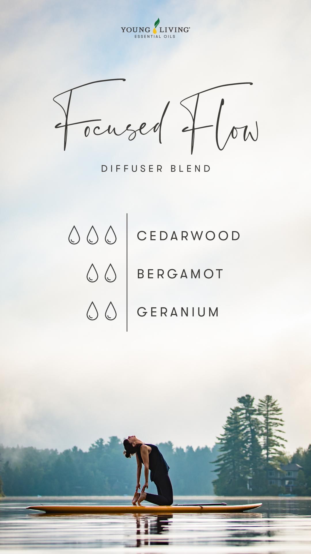 Focused Flow Diffuser Blend - 3 drops Cedarwood, 2 drops Bergamot, 2 drops Geranium