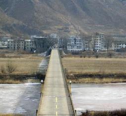 The china-north korea border at Tumen, leading into the city of Namyang