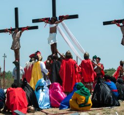 Penitents are nailed to crosses for the Cutud Lenten rites in the Philippines.