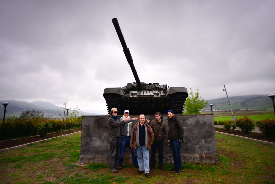 Our group in front of a tank statue in Nagorno Karabakh