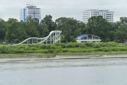 A view of a North Korean water park seen from the Yalu River Broken Bridge.