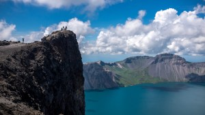 Blue skies and pristine waters of Mount Paektu