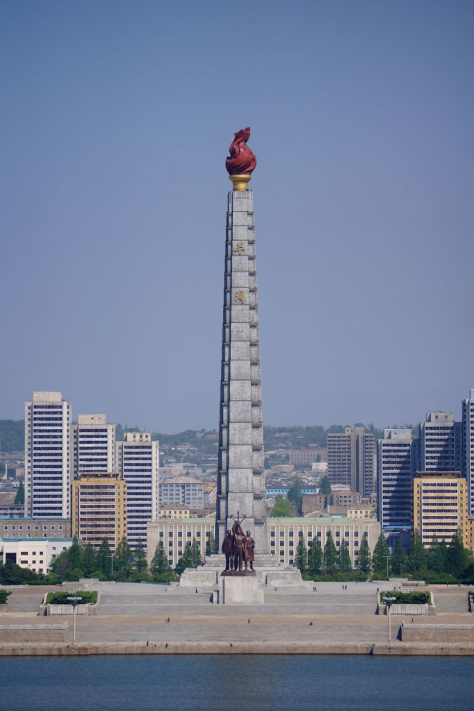 The juche tower seen upfront
