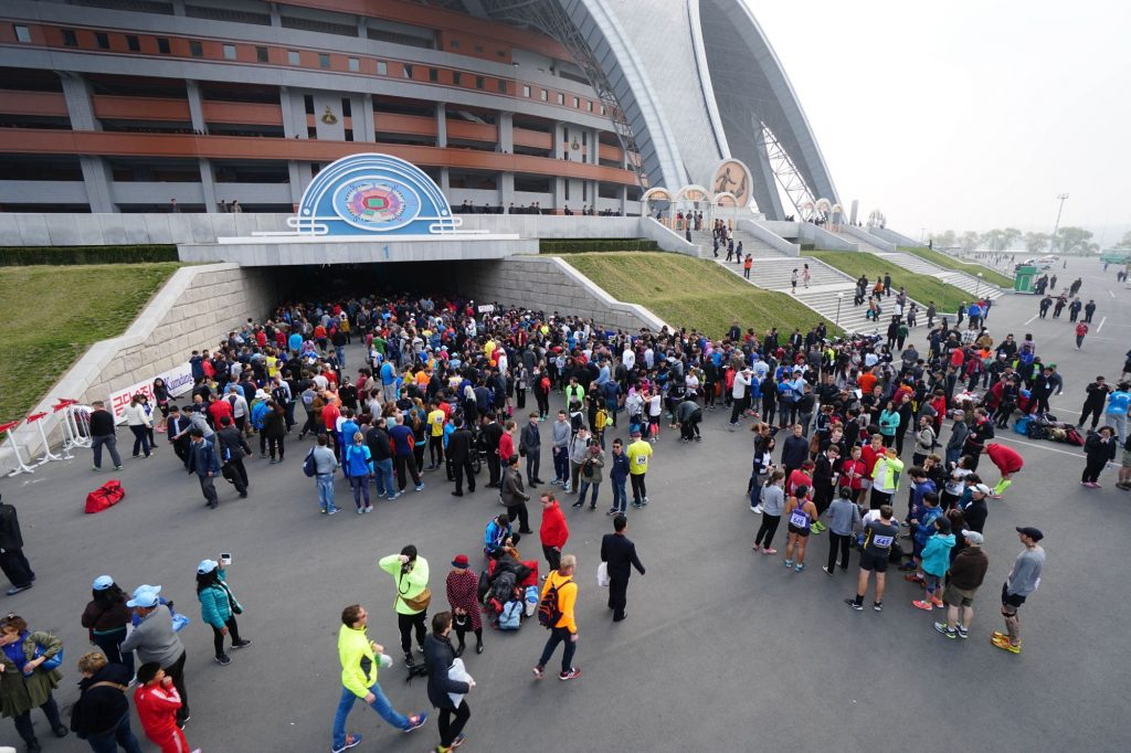 Spectators leaving the May Day stadium