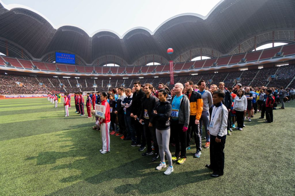 Our group during the Pyongyang Marathon starting in the May Day Stadium
