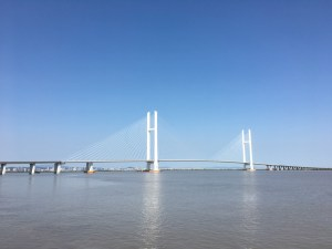 The New Yalu River Bridge in daytime.