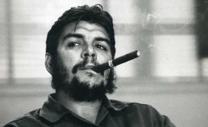 Che Guevara smoking a cigar.