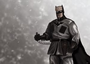 Soviet Batman in the snow with his thumb on a detonator.