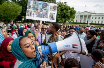 Sudan military coup: protesters on the streets of Khartoum.