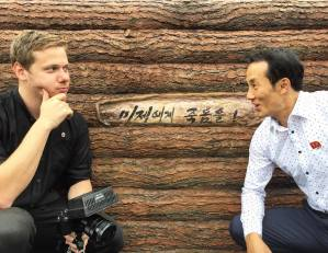 Making a North Korea documentary: Justin Martell with his North Korean guide.