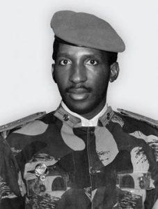 A black and white portrait of Thomas Sankara, revolutionary, marxist and first president of Burkina Faso.