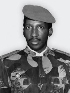 A black and white portrait of Thomas Sankara, revolutionary, marxist and first president of Burkina Faso.