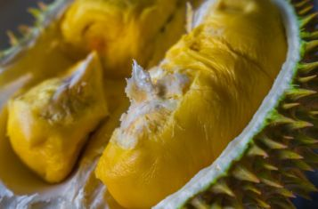 A close-up shot of freshly-opened durian.