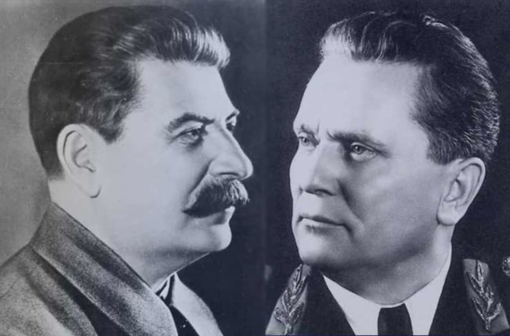 A composite image of Josef Stalin and Josip Broz Tito.