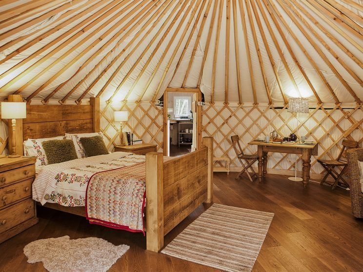 The interior of a fancy 'glamping' yurt in the UK.