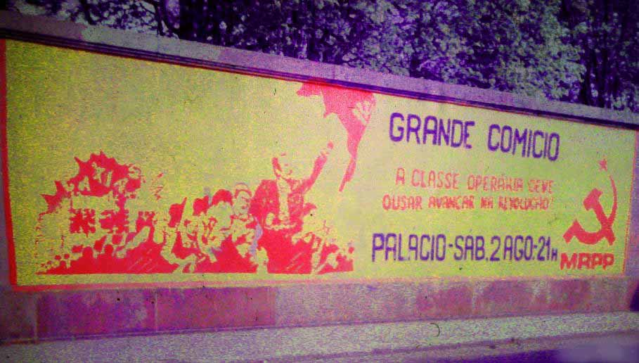 1975 Maoist mural in Portugal by the Portuguese Workers Communist Party, aiming to join countries with communism.
