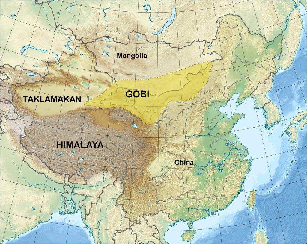 Map of the Gobi Desert