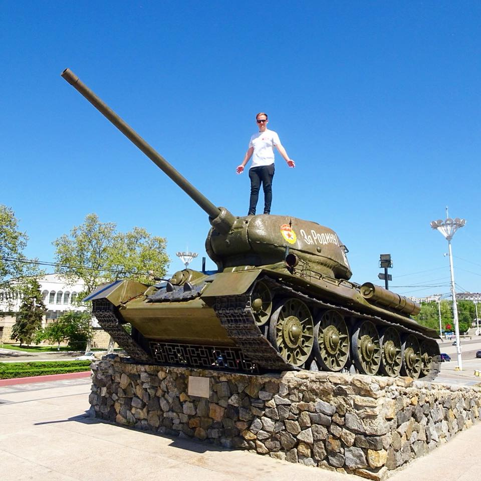 A tank turned into a monument in the city of Tiraspol