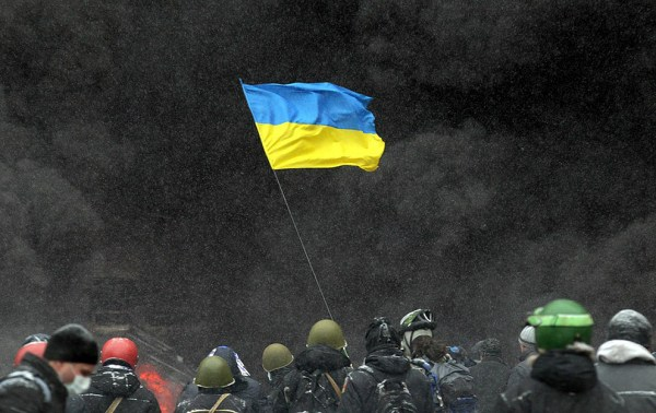 The flag of Ukraine waved during protests