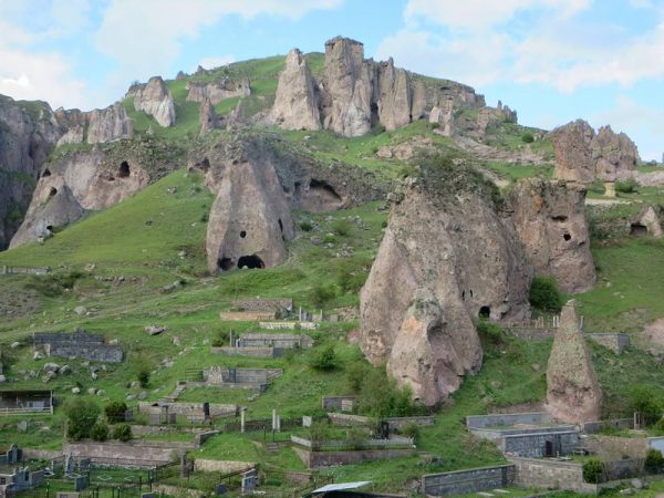 Goris, in Armenia and its cave settlements