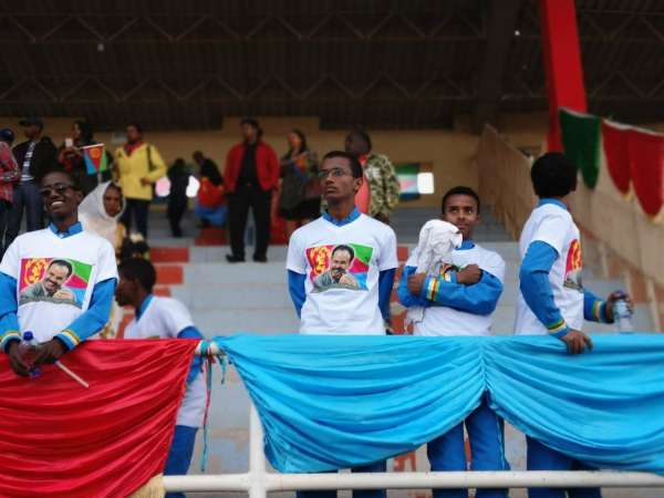 Crowds spectating the Mass Games of Eritrea