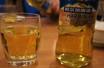 A glass of Harbin Beer