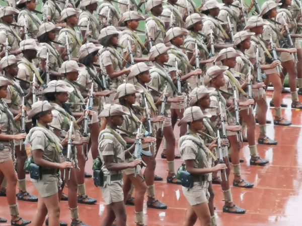 A military parade during the Mass Games of Eritrea