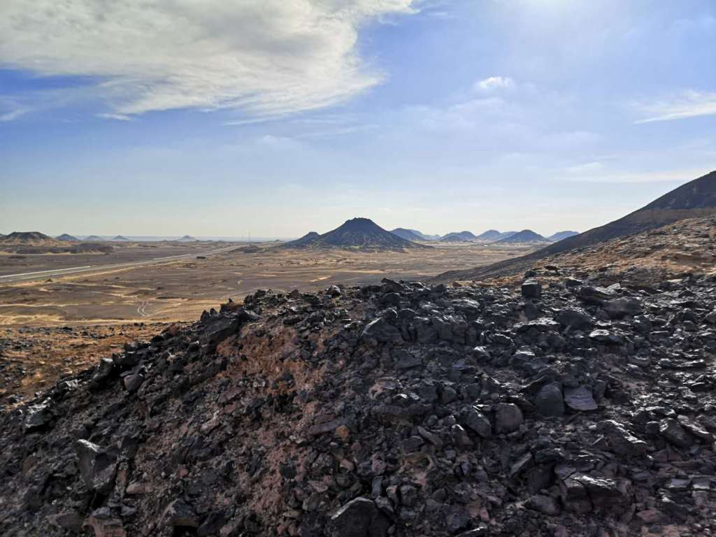 The basalt mounds of the Black Desert of Egypt