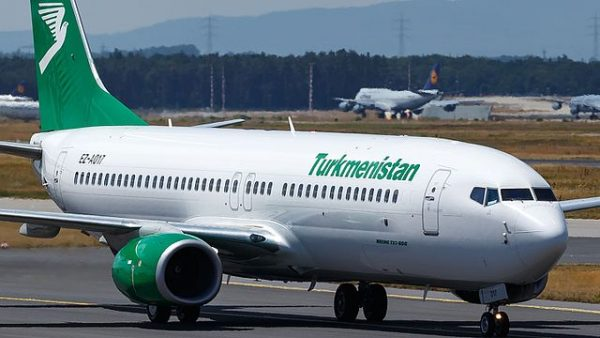 Turkmenistan Airlines plane, part of the main airlines in Central Asia