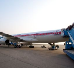 Boarding an Air Koryo flight