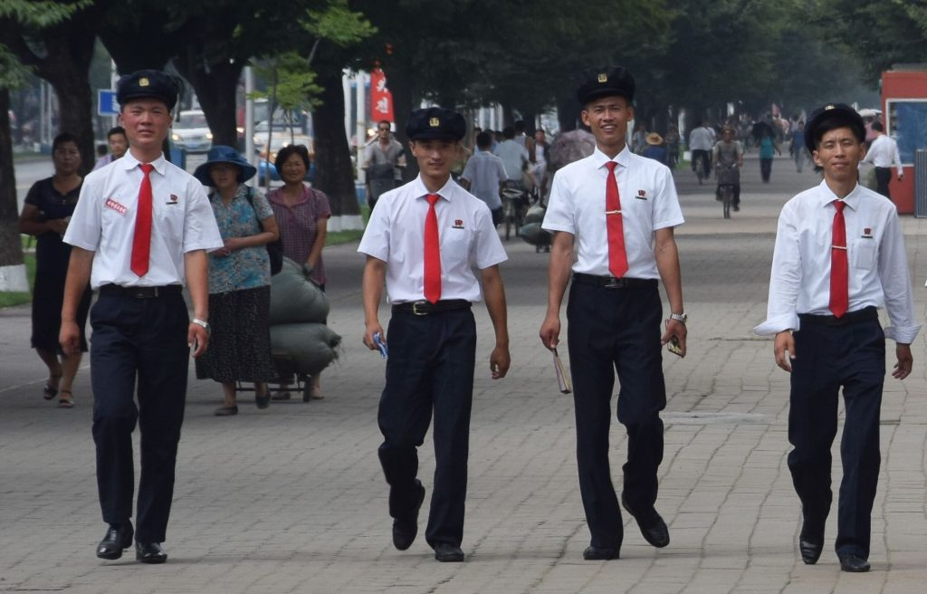 A group of students in Pyongyang, North Korea