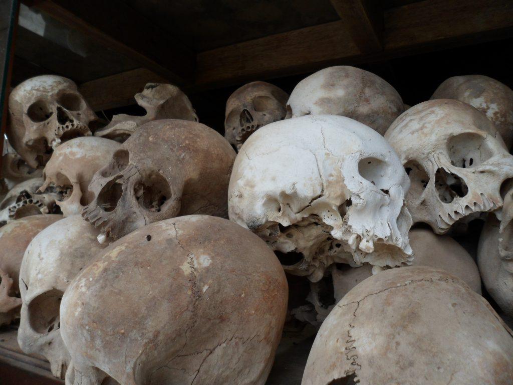 Skulls of victims of genocide in Democratic Kampuchea