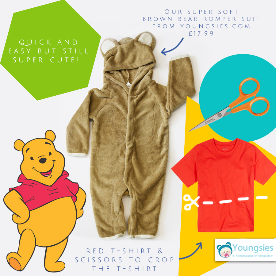 Winnie the Pooh DIY Costume  sc 1 st  Youngsies & DIY Baby Halloween Costume Ideas with Animal Onesies