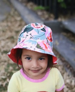 girls bucket hat is sun safe and made from cotton with wide brim