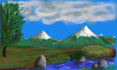 Mountains painted in YouPaint