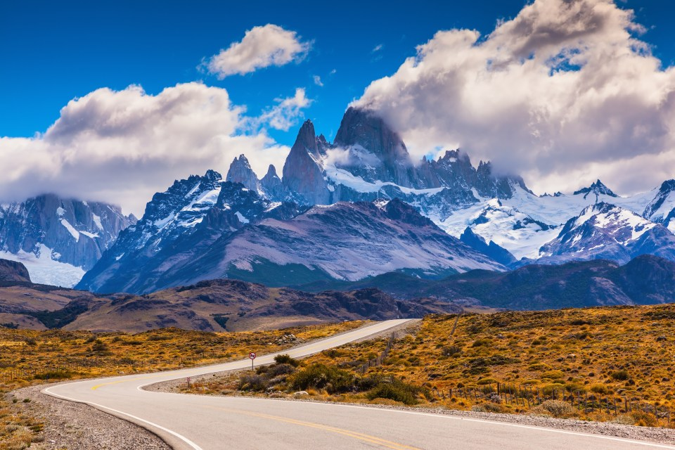 The highway crosses Patagonia and leads to majestic mountains of Fitzroy. The road through desert