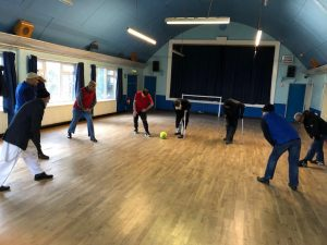 The men from Armley Mosque warming up for an intense game of walking football