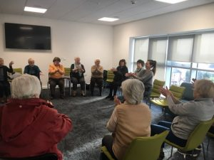 The Rhino Active Social group enjoying a relaxing meditation session
