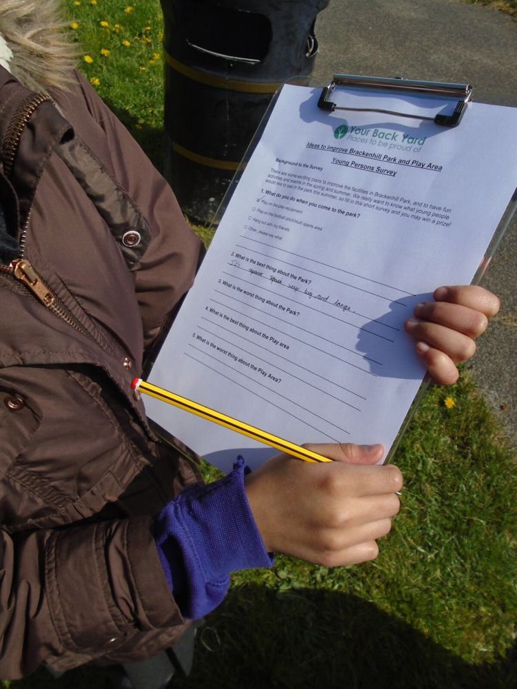 A child from Hollingwood Primary School completing one of our young people's surveys