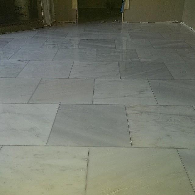 Hampton Carrara Polished Marble Floor Tile 18 In Luxury Bathroom