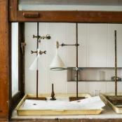 Interior of vintage laboratory shelf