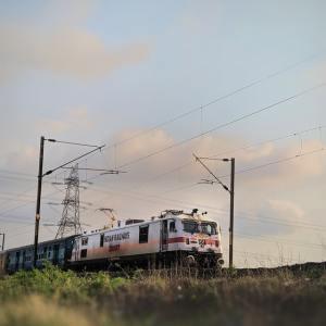 Train under blue sky